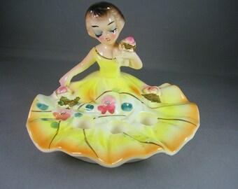 Vintage Wales Lady Lipstick Holder Figurine 1950s era Yellow Full Skirt Holds 3 Lipsticks