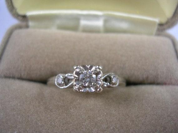 1940s Diamond Engagement Ring Keepsake 19ctw Size 7 75 White