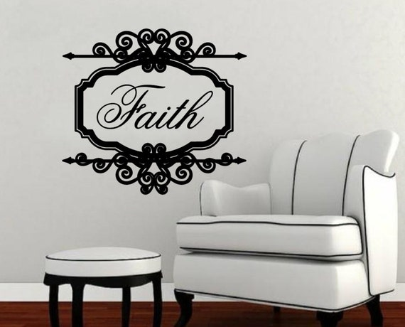 Wall Decal Faith Vintage Look Sign Frame Vinyl Wall Decal 22197