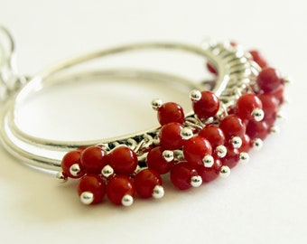 Chandeleir Hoop Earrings - Red Coral Earrings