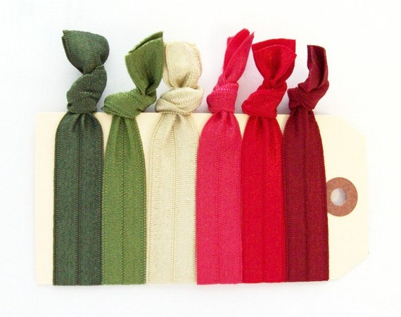 elastic hair ties summer camp greens and reds set of 6