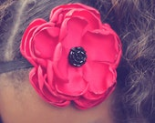 Red Flower Headband Hair Clip Baby Toddler Girl Headband Singed Fabric Flower