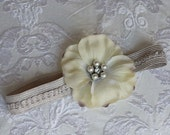 Lovely Cream Flower with Rhinestone and Pearl Center on Light Grey Headband For Newborn and Baby Girls Perfect for Photos