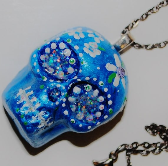 day of the dead inspired calavera pendant azul blue white flowers with chain