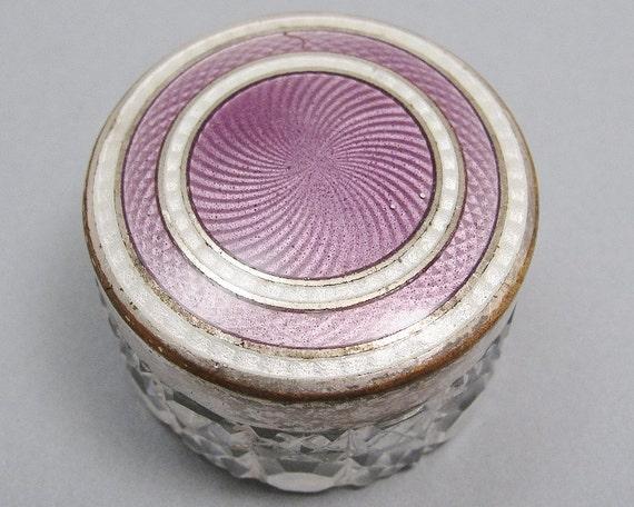1910s Edwardian Art Deco Silver Guilloche Enamel & Crystal Pill Ring Box Purple Downton Abbey Boudoir