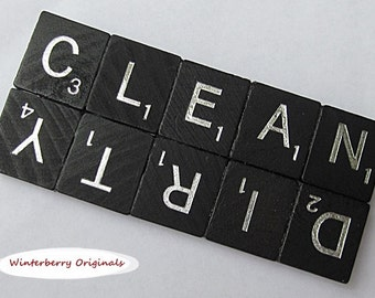 CLEAN DIRTY Black Scrabble Dishwasher Magnet