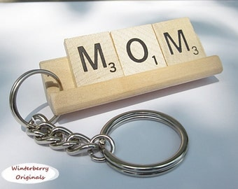 MOM Scrabble Tile Keychain - Keyring, Gift for Mom, Keys