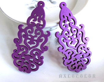 Painting Series  - 30 x 63mm Pretty Purple  long Lace Style Wooden Charm/Pendant MH142 10