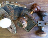 Vintage Lot Porcelain and Pressed Metal Doorknobs and Hardware Victorian