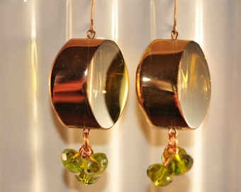 Handmade Vintage Olive and Gold Sliced Glass Bead Earrings