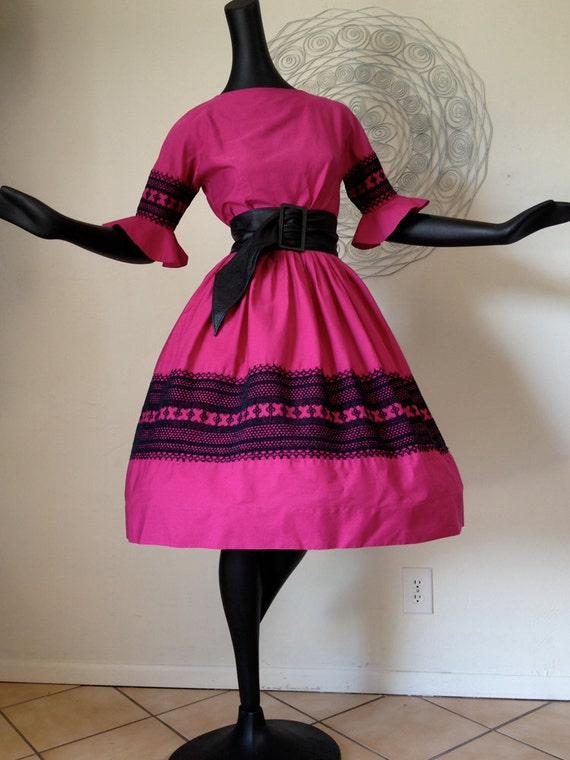 Vintage1950s 50s 1960s 60s Rockabilly Day Dress Swing Dance I Love Lucy Magenta Pink Berry Black Circle Skirt Sleeves by Jo Jr