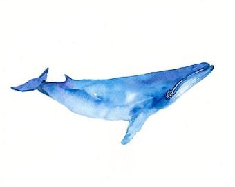 WHALE  7x5inch Print-Art Print-animal Watercolor Print-Giclee Print-sea art