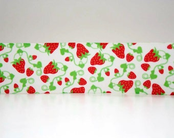 Strawberry Print Extra Wide 1.5in Grosgrain Ribbon - 1 yd