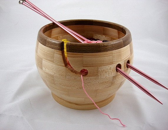 Wooden Knitting Bowl, Walnut Rim, Lathe Turned
