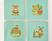 Vintage Set of 4 Dutch Milk Maid, Wooden Shoes, and Windmills Aqua Tile Coasters, 1950s or 1960s Tiles with Cork Backing