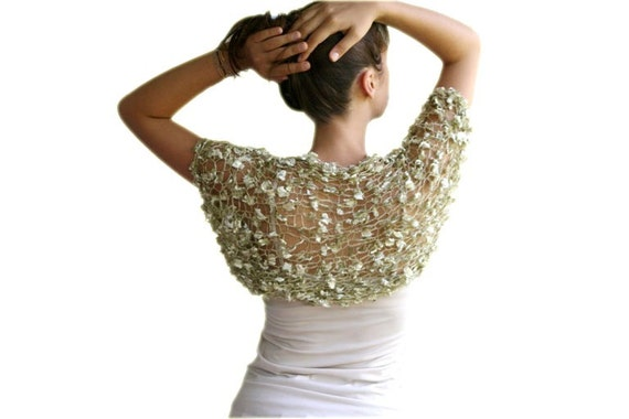 Bridal Shrug in Golden Green - Bridal Bolero - Sweater - Vest -  Spring Summer Fall Fashion - Women Teens Accessories