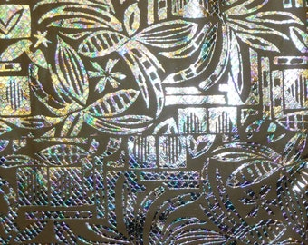 """Leather 12""""x12"""" Iridescent Metallic POLYNESIAN  Print on Taupe background Cowhide 2oz / .8 mm  PeggySueAlso"""