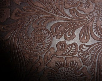 "Suede Leather 20""x20"" Rich Chocolate Brown Etched DAISY Floral Matte  Cowhide 3.5-3.75 oz/1.4-1.5 mm PeggySueAlso™"