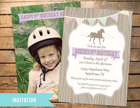 Pony / Horse Invitation in Vintage Colors PLUS Matching Thank You Note