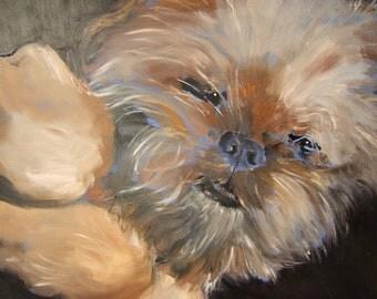 "Brussels Griffon Art Print of an original oil painting /""Sweet Dreams""/ Dog Art / 8 x 10"