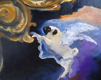 """Pug Art Print of an original oil painting/ """"Angel In The Architecture"""" / 8 x 10 / Dog Art"""