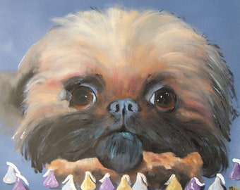 "Brussels Griffon Art Print of an original oil painting -""My Kisses, Not Your Kisses"" / Dog Art / 8 x 10"