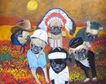 "Brussels Griffon Art Print of an original oil painting/ ""The Village BG's"" / 8 x 10 /Dog art"