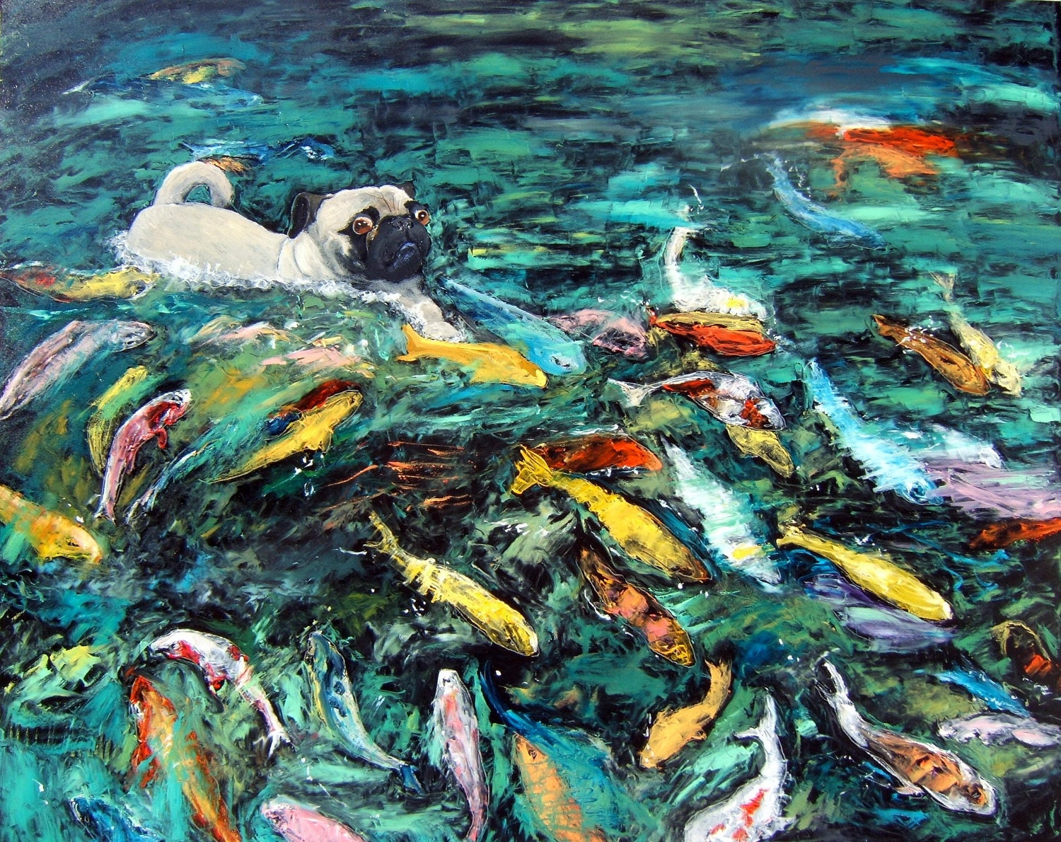Pug art print of an original oil painting swimming with for Original koi fish
