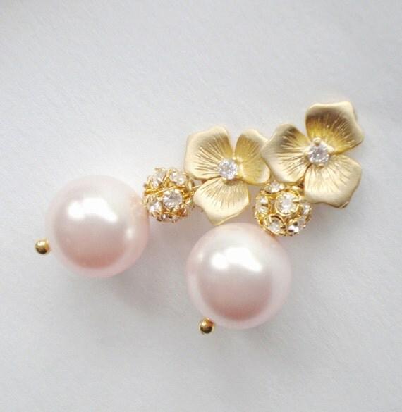 Pink Pearl Bridal Earrings...Boutique Rhinestone Wedding Design