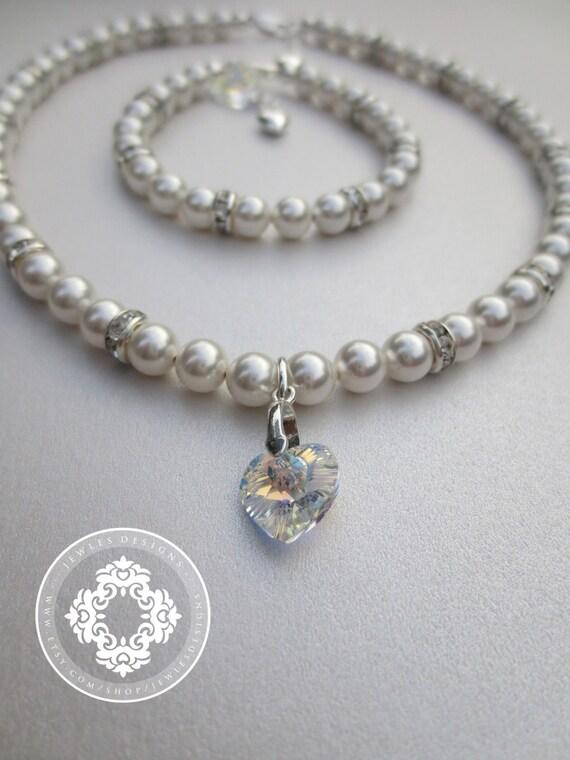 Flower Girl Necklace and Bracelet Set Flower Girl Jewelry