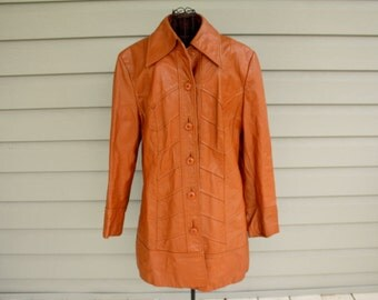 SALE 1970s Leather jacket from The Tannery by Montgomery Ward. Unisex Men's S, women's M or L