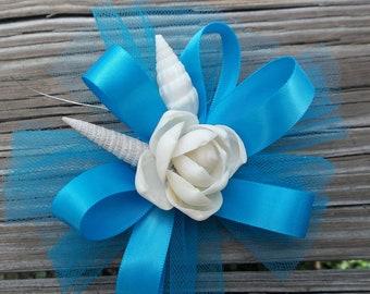 Seashell Flower Wrist Corsage for Wedding or Prom