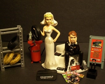 AUTO MECHANIC Got the Tire with Stand and sign Wedding Cake Topper Tools Funny