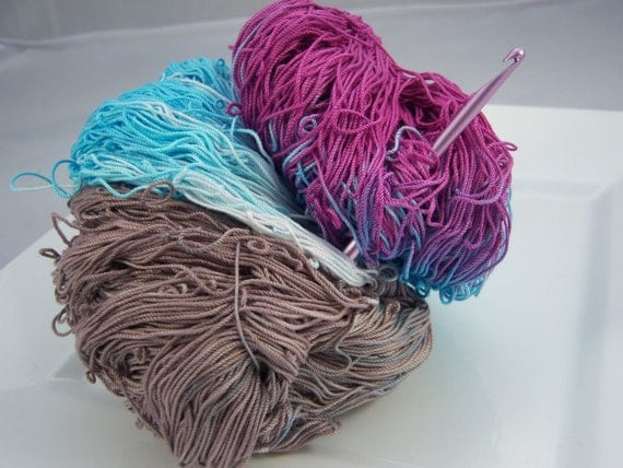 Limited Supply - Crochet Cotton - Size 10 - Hand Dyed - Chocolate Raspberry - 150 yards