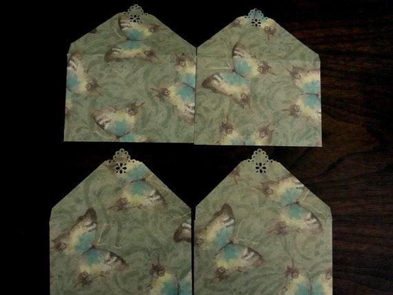 Blue Butterfly Mini Envelope Set of 4, Business cards holder, Gift Card Envelope