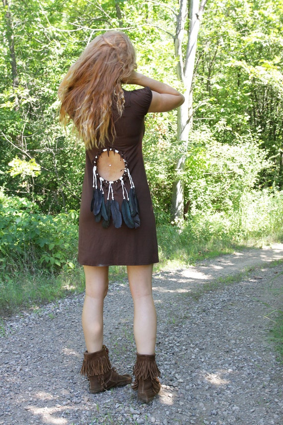 Custom for Hgrzelka- Dreamcatcher Spirit Cut Out Feathers Dress