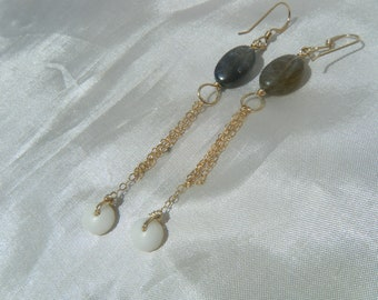 Gold Puka Shell Earrings