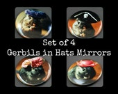 "Mirror Set of 4 Gerbils in Hats Pocket Mirrors 2.25"" (4)"