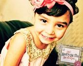 Baby Girl  Chiffon Rosette elastic headband, ,Baby Headbands.Girl Headbands.