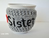 Gift for Sister, Mug Cozy Personalized ,  I love Sister , , red heart, grey color, travel cup cozy,