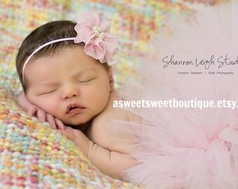 Pink Tutu Tiny Dancer Ballerina Pink Tutu Newborn Tutu Custom Made With Matching Vintage Style Flower Headband Stunning Newborn Photo Prop