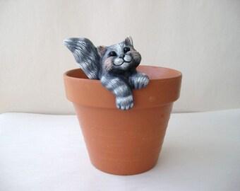 Ceramic flower pot decoration - cat