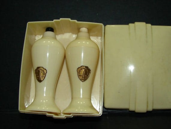 1940's ART DECO Salt & Pepper Set in Box Empire State Building NY Unused