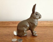 Vintage Cast Iron Bank Bunny Rabbit Bank Collectable Childs Room Decor - vintage19something