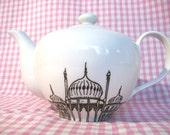 Decorative Porcelain Teapot featuring a hand drawn Brighton Pavilion illustration