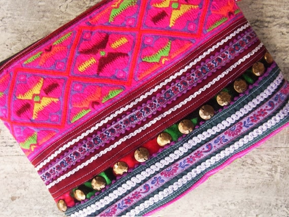 Embroidery case bag for stationery, cosmetic and kindle //// purple // pink // violet