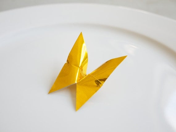 Gold Foil Origami Butterfly