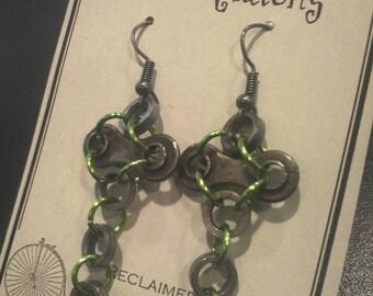 Christmas Cross Earrings, Reclaimed Bicycle Chain Piece Earrings, Easter gift