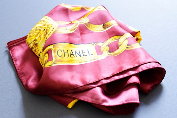 "Vintage Coco Chanel Paris Burgundy Gold Chain Silk Scarf - ""31 Rue Cambon"" -  Large square graphic - Replica - fall fashion accessory"