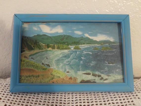 Coastal Seaside Beach Acrylic Painting Aqua By Elegantseashore